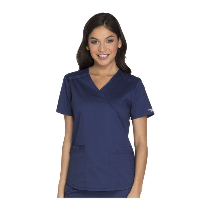 Cherokee Workwear Top WW Core Stretch Mock Wrap Top Navy Top