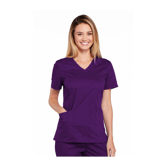 Cherokee Workwear Top WW Core Stretch V-Neck Top Eggplant Top