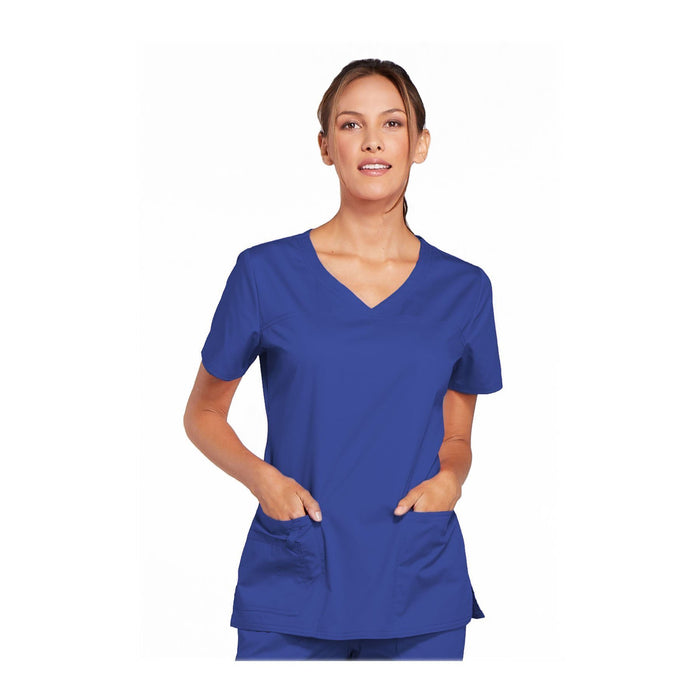 Cherokee Workwear Top WW Core Stretch V-Neck Top Galaxy Blue Top
