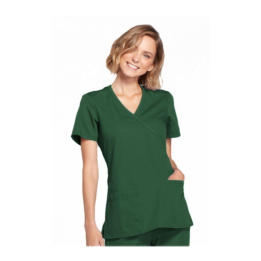 Cherokee Workwear Top WW Mock Wrap Top Hunter Top