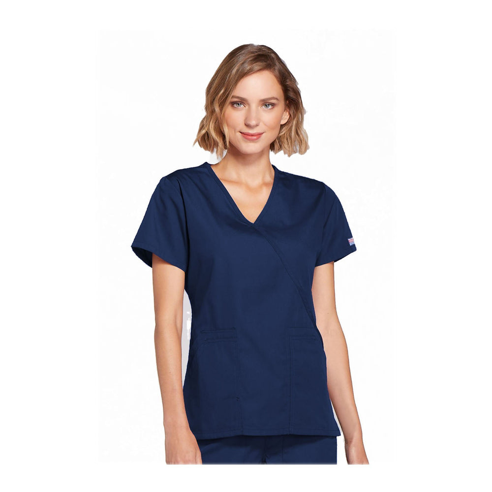 Cherokee Scrubs Workwear Top WW Mock Wrap Top Navy Top