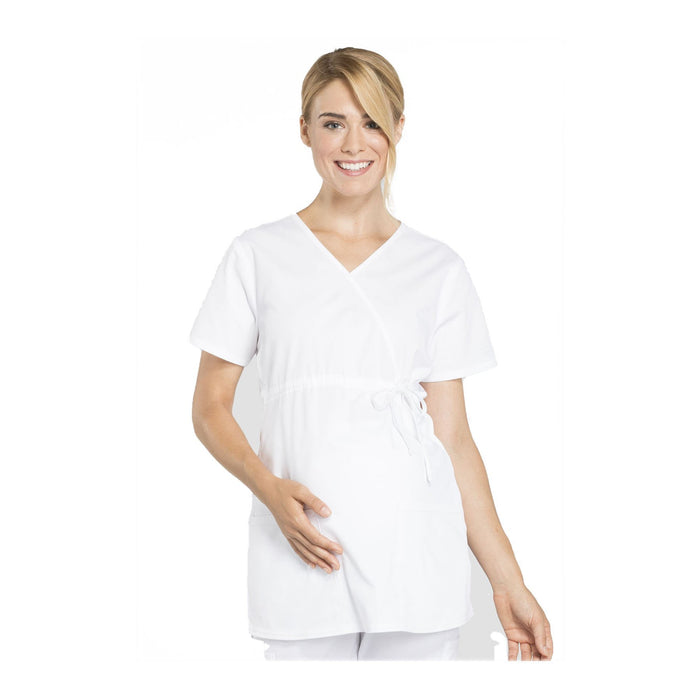 Cherokee Workwear Top WW Professionals Maternity Mock Wrap Top White Top
