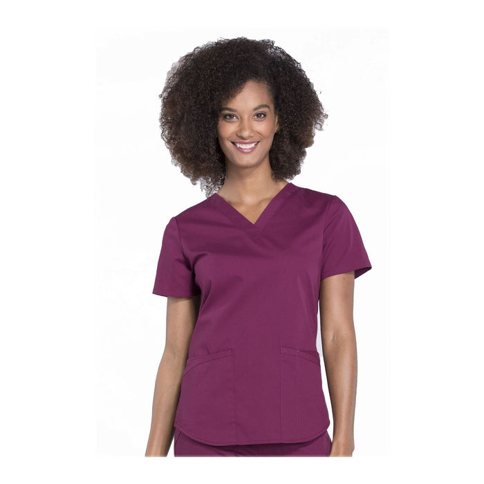 Cherokee Workwear Top WW Professionals V-Neck Top Wine Top