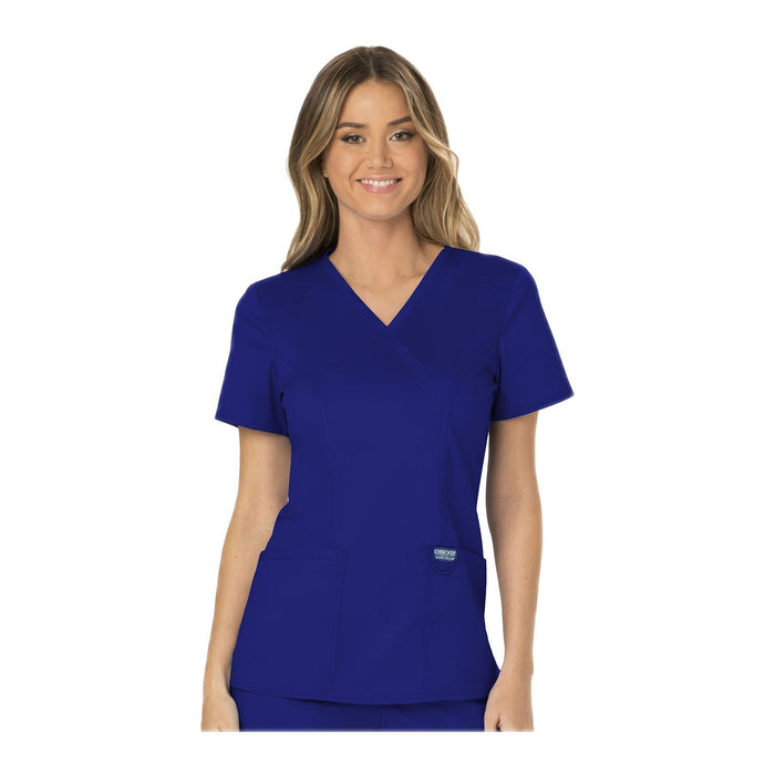 Cherokee Workwear Top WW Revolution Mock Wrap Top Galaxy Blue Top
