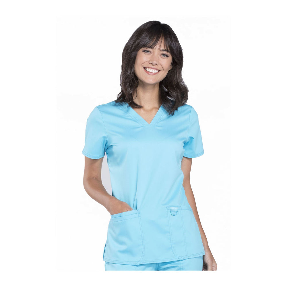 Cherokee Workwear Top WW Revolution V-Neck Top Turquoise Top