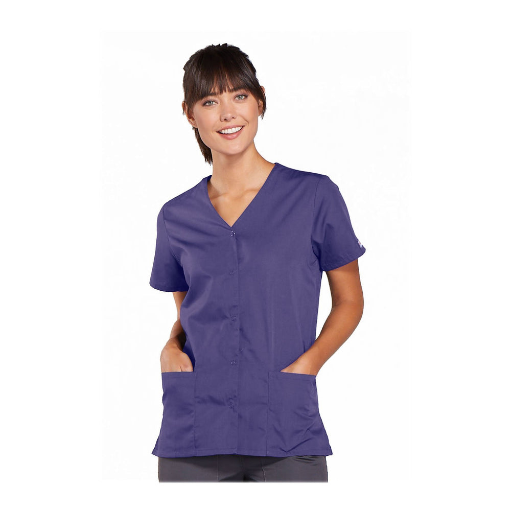 Cherokee Workwear Top WW Snap Front V-Neck Top Grape Top