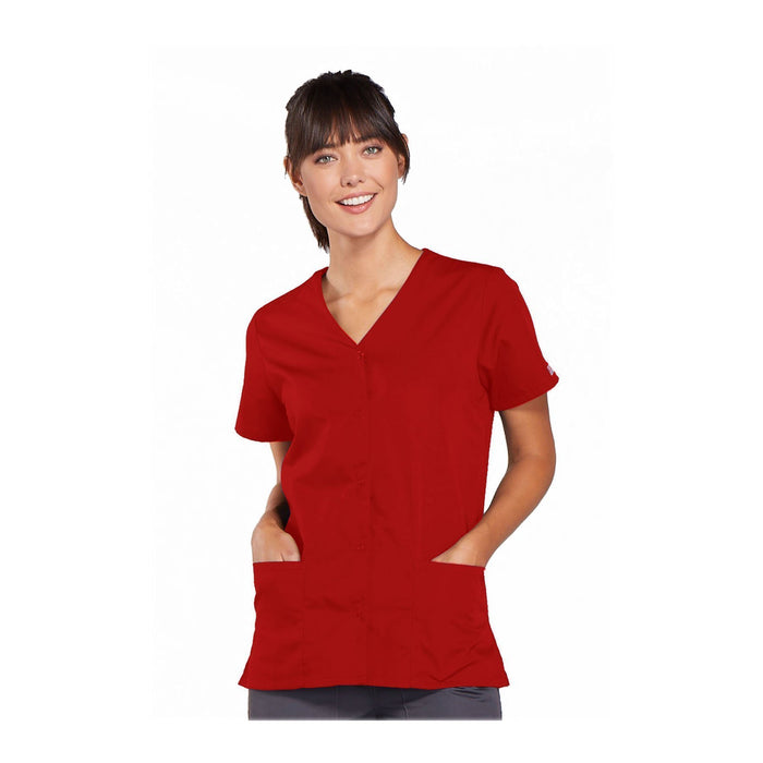 Cherokee Workwear Top WW Snap Front V-Neck Top Red Top
