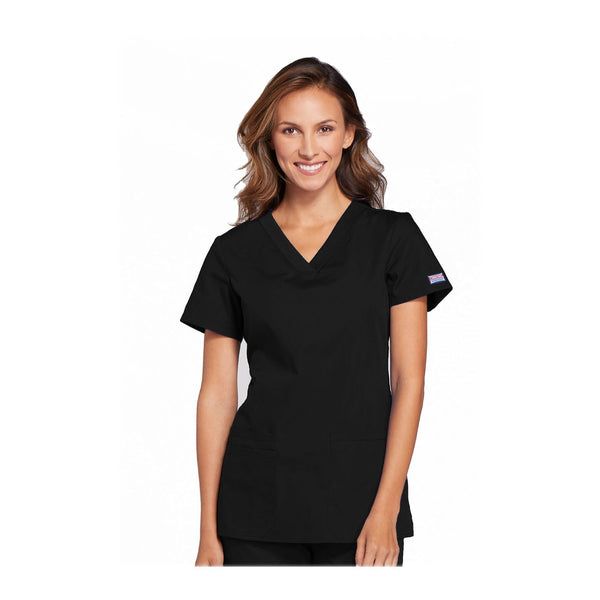 Cherokee Workwear Top WW V-Neck Top Black Top