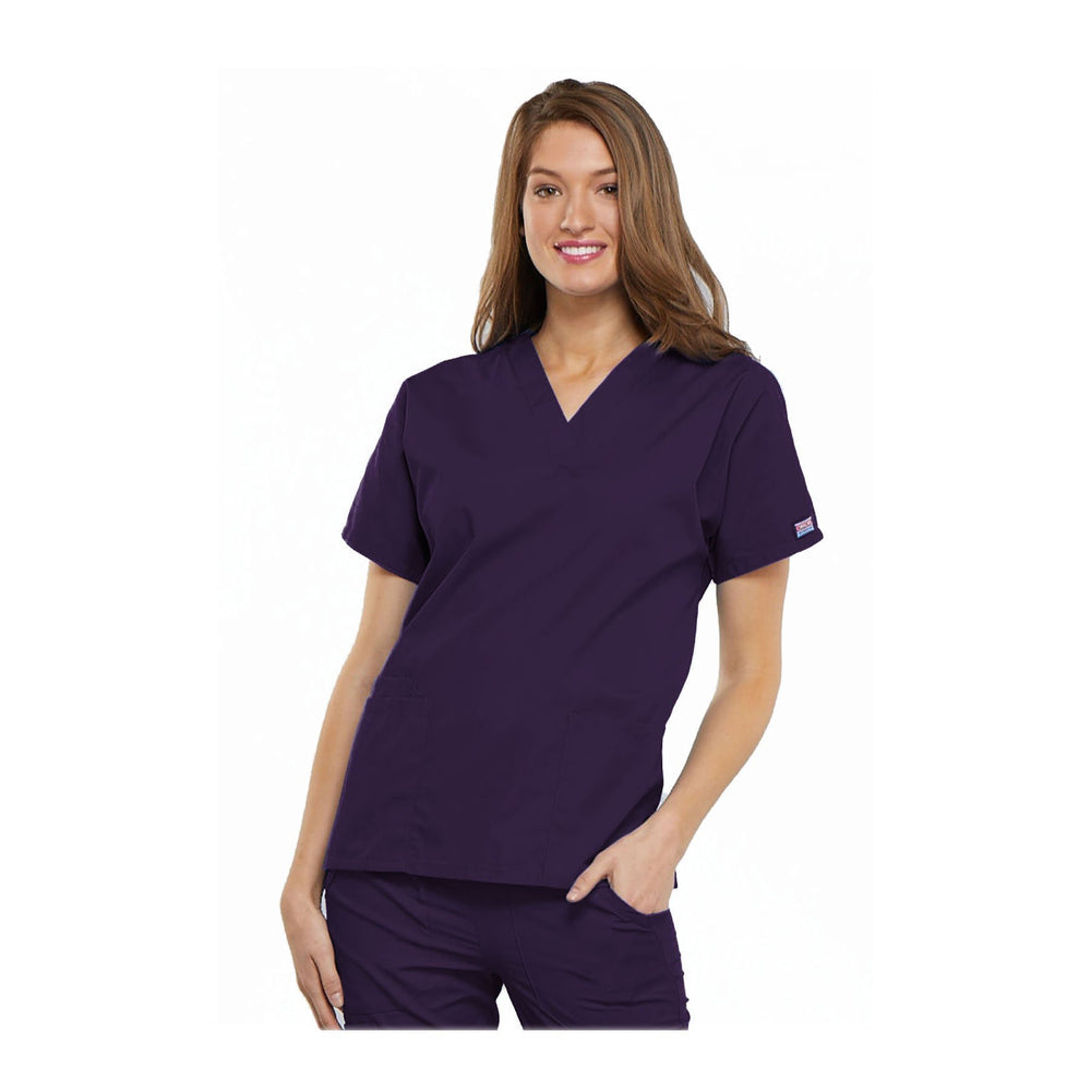 Cherokee Workwear Top WW V-Neck Top Eggplant Top