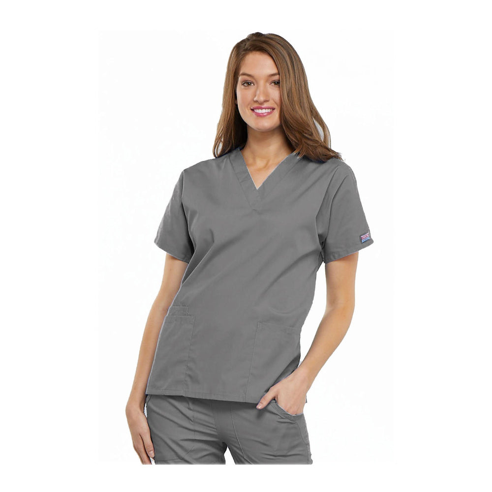 Cherokee Workwear Top WW V-Neck Top Grey Top