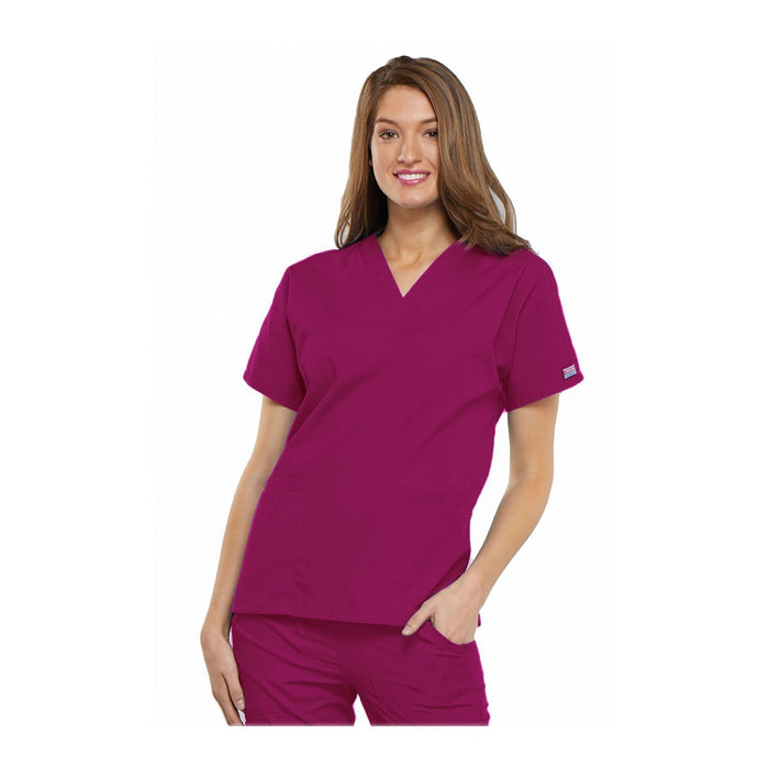 Cherokee Workwear Top WW V-Neck Top Raspberry Top