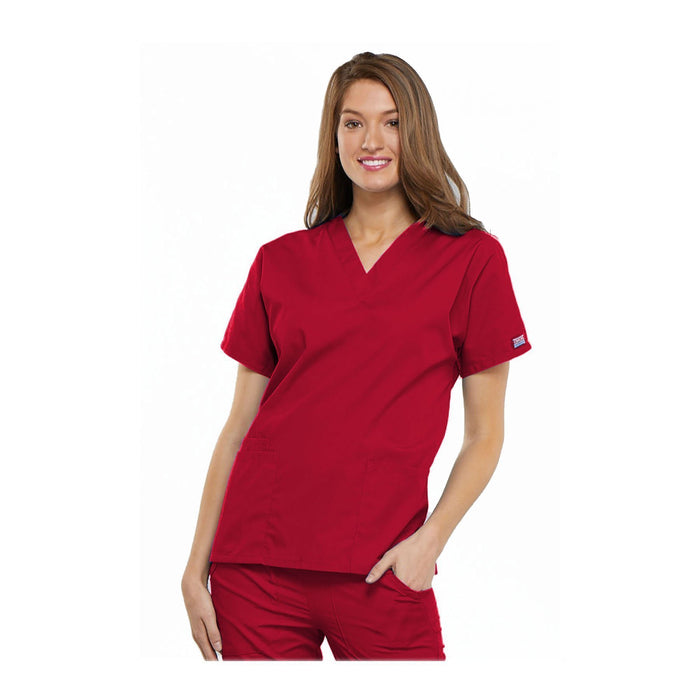 Cherokee Workwear Top WW V-Neck Top Red Top