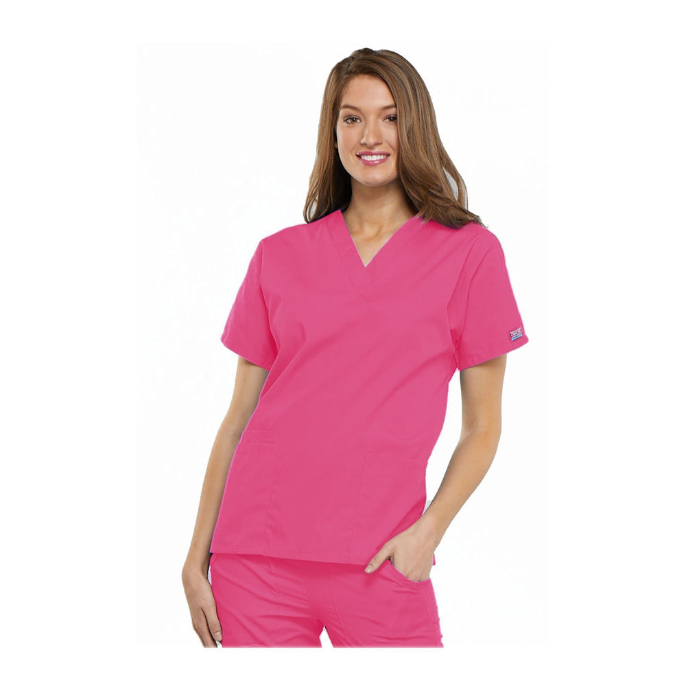 Cherokee Workwear Top WW V-Neck Top Shocking Pink Top