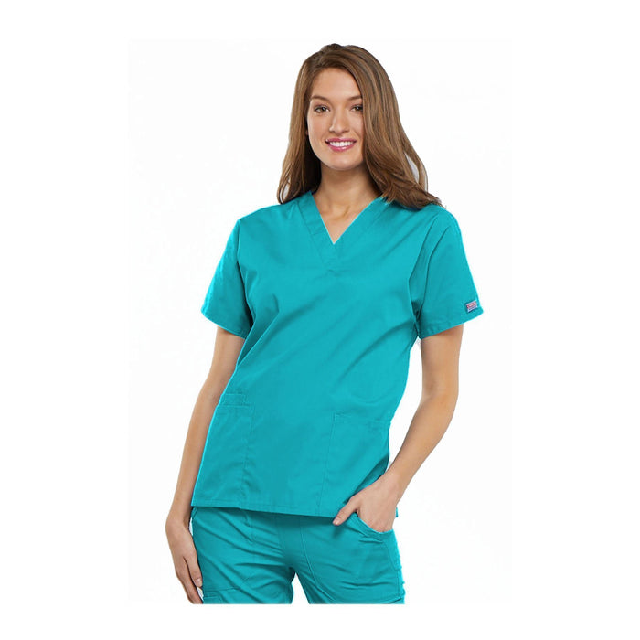 Cherokee Workwear Top WW V-Neck Top Turquoise Top