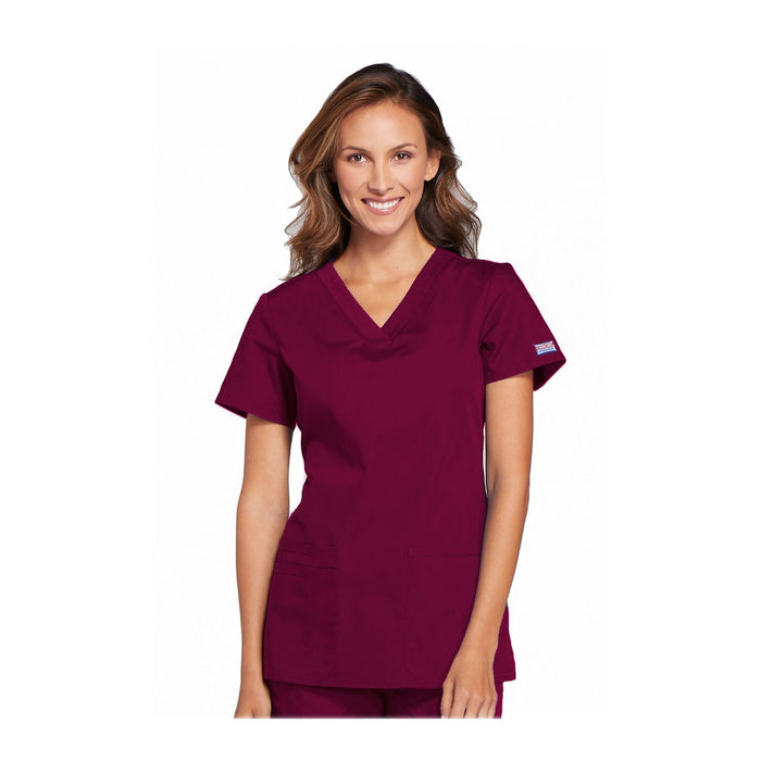 Cherokee Workwear Top WW V-Neck Top Wine Top