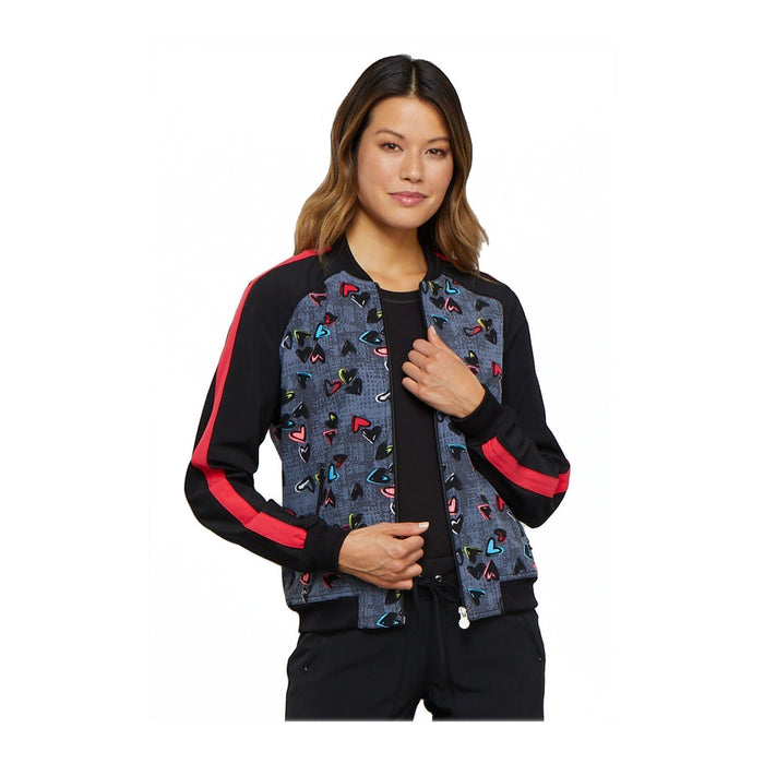 Cherokee Warm Up Jacket Let's Punch It Up Zip Front Jacket Marked Hearts Warm Up Jacket