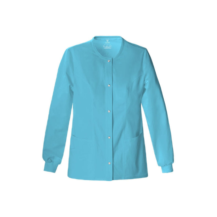 Cherokee Warm Up Jacket Luxe Snap Front Warm-Up Jacket Blue Wave Warm Up Jacket