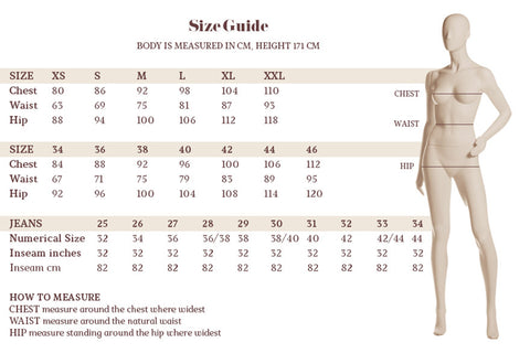 Cream at raft clothing size guide