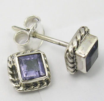 Solid Silver Square Iolite Stud Earrings
