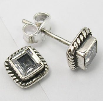 Solid Silver Square Cubic Zirconia Stud Earrings