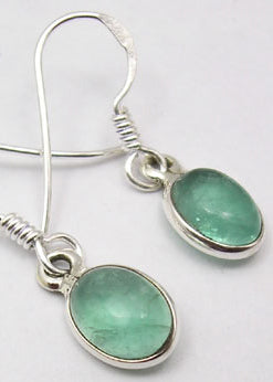 Oval Drop Apatite Solid Silver Earrings