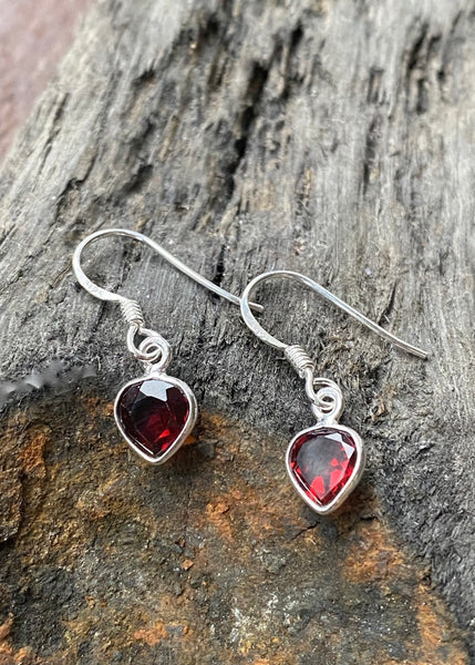 Solid Silver Mini Tear Garnet Drop Earrings