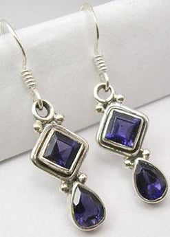Faceted Iolite and Silver Drop Earrings