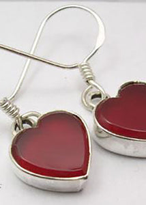 Solid Silver Carnelian Heart Drop Earrings