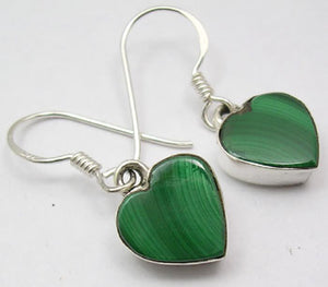 Malachite Solid Silver Heart Drop Earrings at 'r a f t clothing'