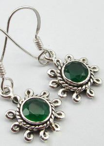Solid Silver Flower Green Onyx Drop Earrings