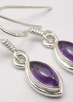 Solid Silver Double Framed Marquise Drop Amethyst Earrings