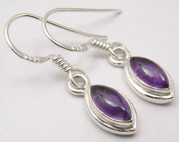 Amethyst Solid Silver Double Frames Tear Drop Earrings at 'r a f t clothing'