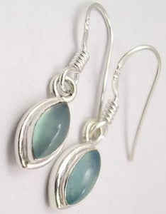 Chalcedony Solid Silver Double Frames Tear Drop Earrings at 'r a f t clothing'