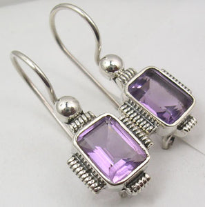 Amethyst Solid Silver Rope Edge Earrings at 'r a f t clothing'
