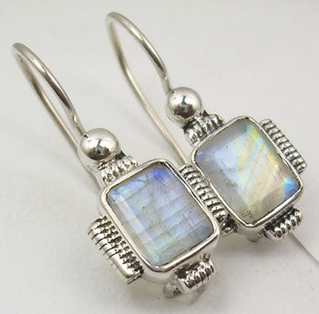 Rainbow Solid Silver Rope Edge Earrings at 'r a f t clothing'