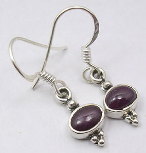 Solid Silver Circle Drop Ruby Earrings