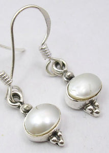 Solid Silver Oval Pearl Drop Earrings