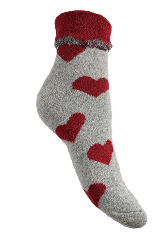 Luxurious Cuff House Socks in Grey with Big Red Hearts