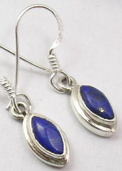 Solid Silver Double Framed Drop Lapis Lazuli Earrings