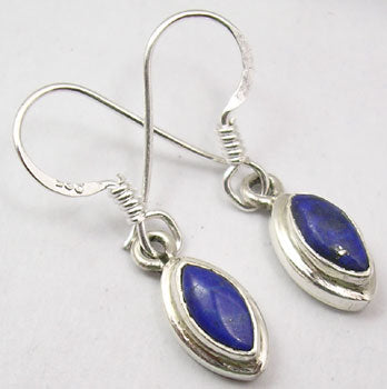 Lapis Lazuli Solid Silver Double Frames Tear Drop Earrings at 'r a f t clothing'