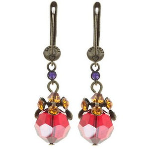 La Maitresse Dangling Earrings in Red & Orange