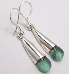 Apatite Solid Silver Cabochon Earrings at 'r a f t clothing'