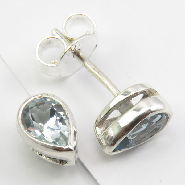 Solid Silver Aquamarine Tear-Drop Stud Earrings