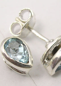 Solid Silver Blue Topaz Tear-Drop Stud Earrings