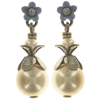Small Stud Drop Arsenic in Old Lace Pearl Earrings