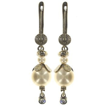 Small Wire Drop Arsenic in Old Lace Pearl Earrings