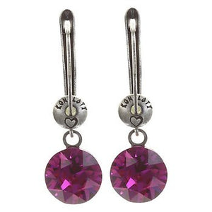 Black Jack Drop Earrings - Dark Rose Fuchsia