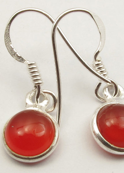 Round Drop Solid Silver Carnelian Earrings