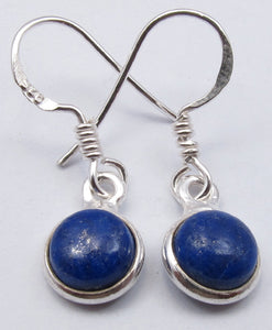 Round Drop Solid Silver Lapis Lazuli Earrings