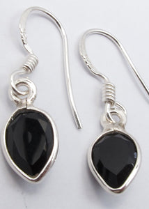Solid Silver Black Onyx Tear-drop Drop Earrings